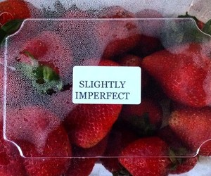 red, aesthetic, and strawberry image