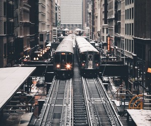 architecture, chicago, and train image
