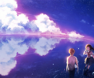 anime, clouds, and anime school image