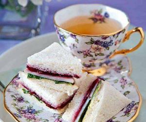 sandwich, girl, and tea image