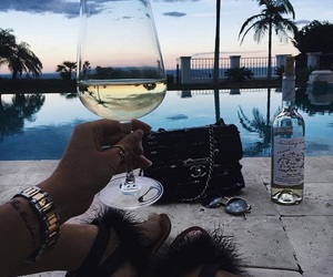 luxury, wine, and sunset image