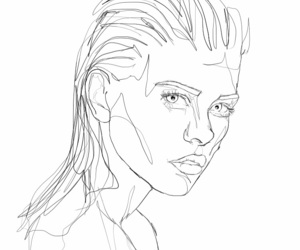 drawing, line art, and woman image