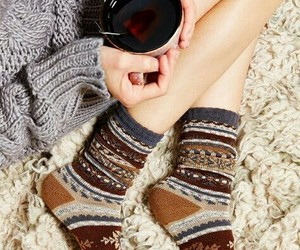 socks, tea, and winter image