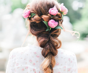 braids, flower, and rose image