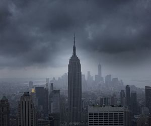 city, dark, and empire state building image