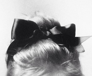 bow, hair, and black and white image