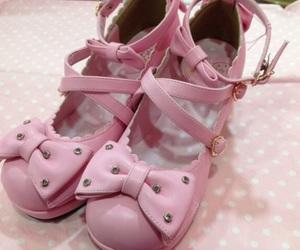 kawaii, pink bows, and pink shoes image