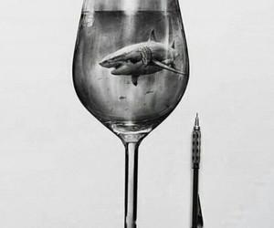 art, shark, and beauty image