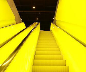 yellow, neon, and stairs image
