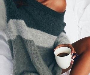 coffee, fashion, and sweater image
