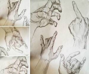 hands, pencil, and sketch image