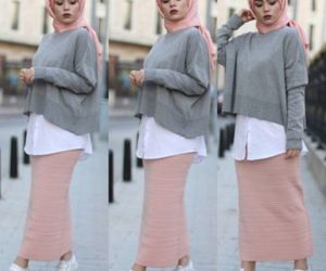hijab+fashion and pencil skirt with hijab image