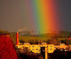colors, rain, and rainbow image