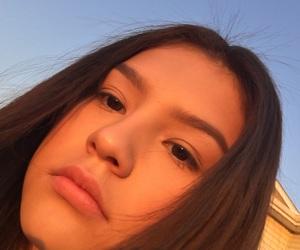 brunette, golden hour, and selfie image