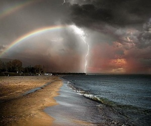 nature, rainbow, and storm image