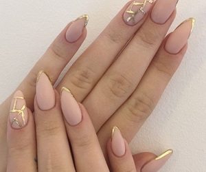 fake nails, long nails, and Nude image
