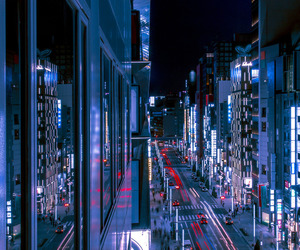 blue, city, and glow image