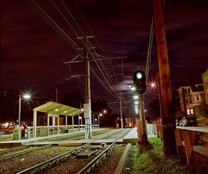night, railroad, and station image