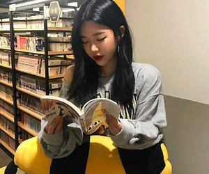 asian, book, and girl image