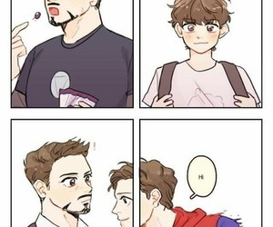 spiderman, tony stark, and peter parker image