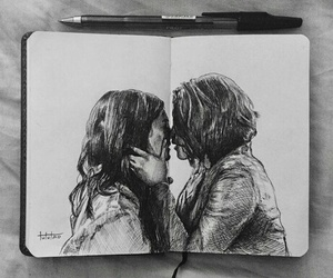 art, pen, and love image