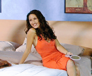 bed, orange dress, and smile image