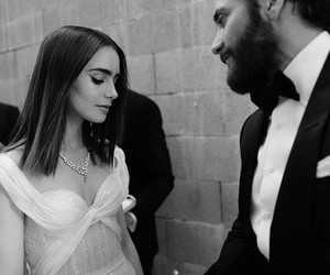 lily collins, jake gyllenhaal, and b&w image