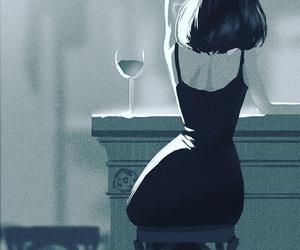 art, wine, and black image