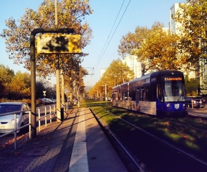autumn, sky, and tram image