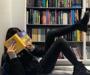 book, girl, and black image