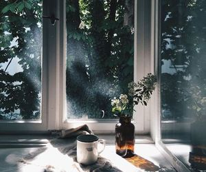 flowers, window, and coffee image