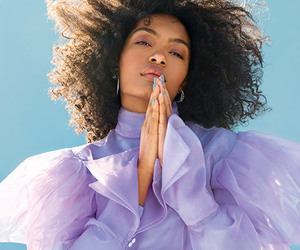 Afro, blue, and model image