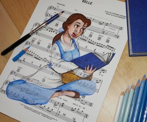art, disney, and belle image