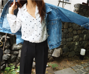 black and white fashion, blouse, and casual image