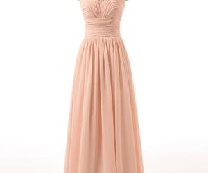 prom dresses, peach dress, and beaded dress image