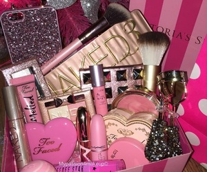 make up, pink, and glitter. love image