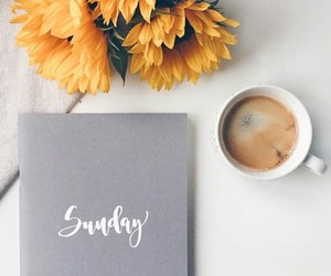 coffee, flowers, and sunflower image