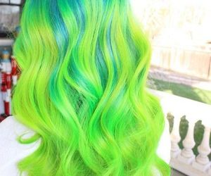 green, hair, and hairstyle image