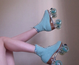 blue, roller skate, and skate image