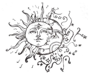 moon, sun, and drawing image