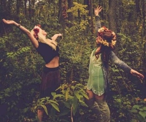 girl, nature, and friends image