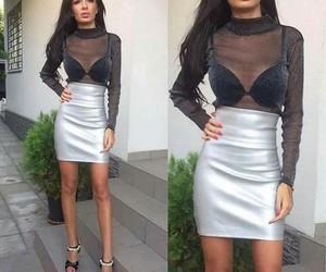 black, blouse, and bra image