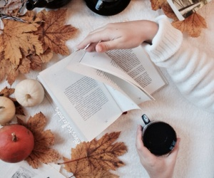 autumn, books, and cup of tea image