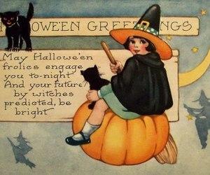 Halloween, autumn, and black cat image