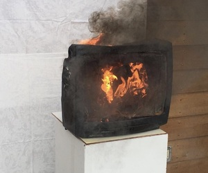 fire, grunge, and tv image