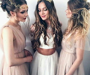 girl, dress, and friends image