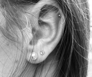 black&white, ear, and earrings image