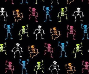 wallpaper, skeleton, and Halloween image