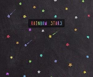 wallpaper, stars, and rainbow image