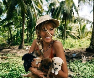 girl, puppy, and dog image